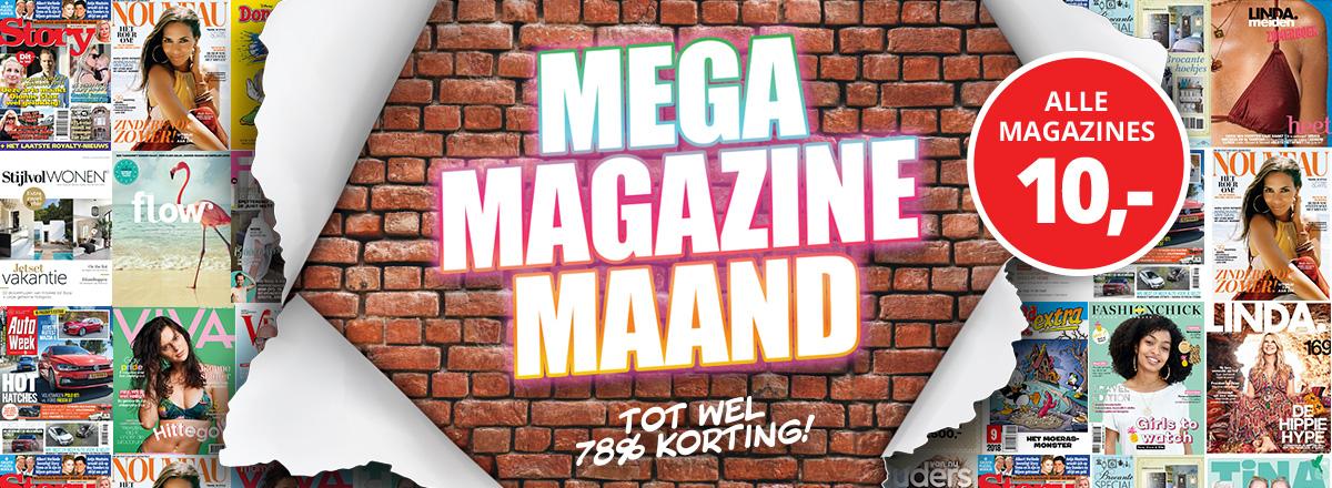 Mega Megazine Maand hoge korting op tijdschrift abonnementen Hoge korting tijdschrift abonnementen, tot 64% korting tijdens Mega Magazine Maand
