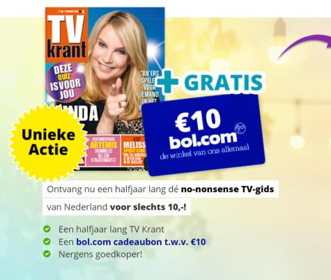 aanbieding half jaar tv krant voor 10 euro en gratis bolcom cadeaubon van10 euro Hoge korting TV krant abonnement met gratis Bol.com cadeau bon t.w.v. € 15.